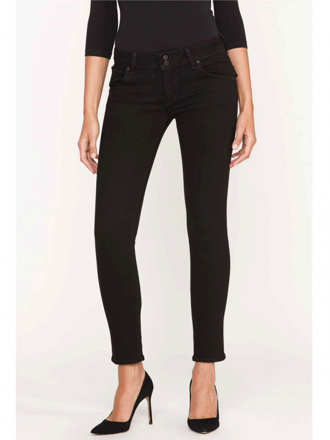 Hudson Jeans Womens Collins Midrise Skinny Jean in Black