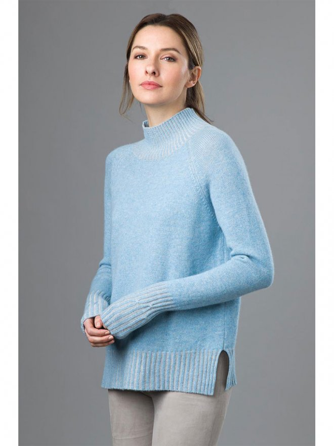 Kinross Plaited Turtleneck in Porcelain