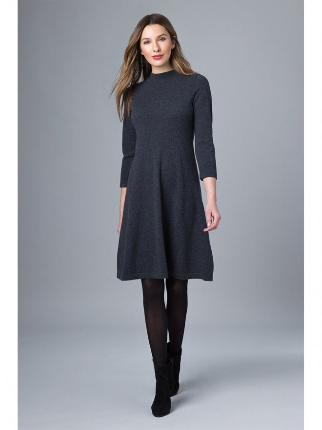Kinross Charcoal Mock Neck A-line Dress