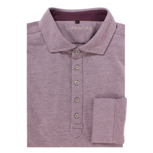 A long-sleeve, sport-fit version of our Cotton Polo is also available, made with the same performance tech fabric and pima cotton facing, displayed here in plum heather.