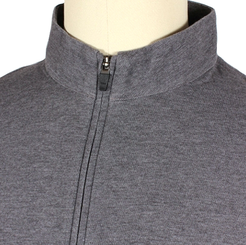 Larrimor's Sport Fit zip mock pullover, displayed here in charcoal, is great for golf or casual wear.