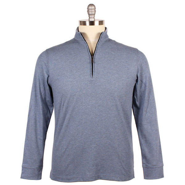 Our Sport Fit zip mock pullover, shown here in blue steel, has enhanced stretch and even features a golf tee pocket on left sleeve!