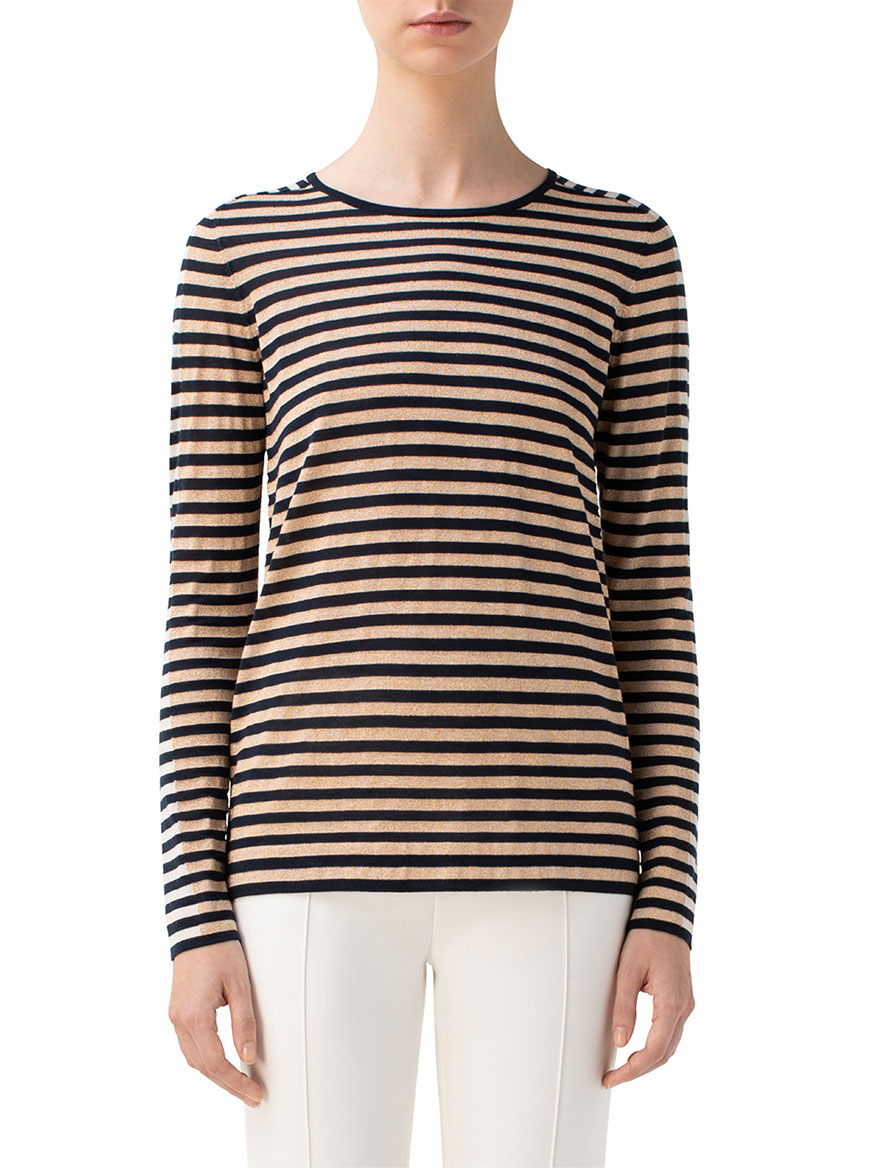 Akris Punto Striped Wool Blend Knit Top