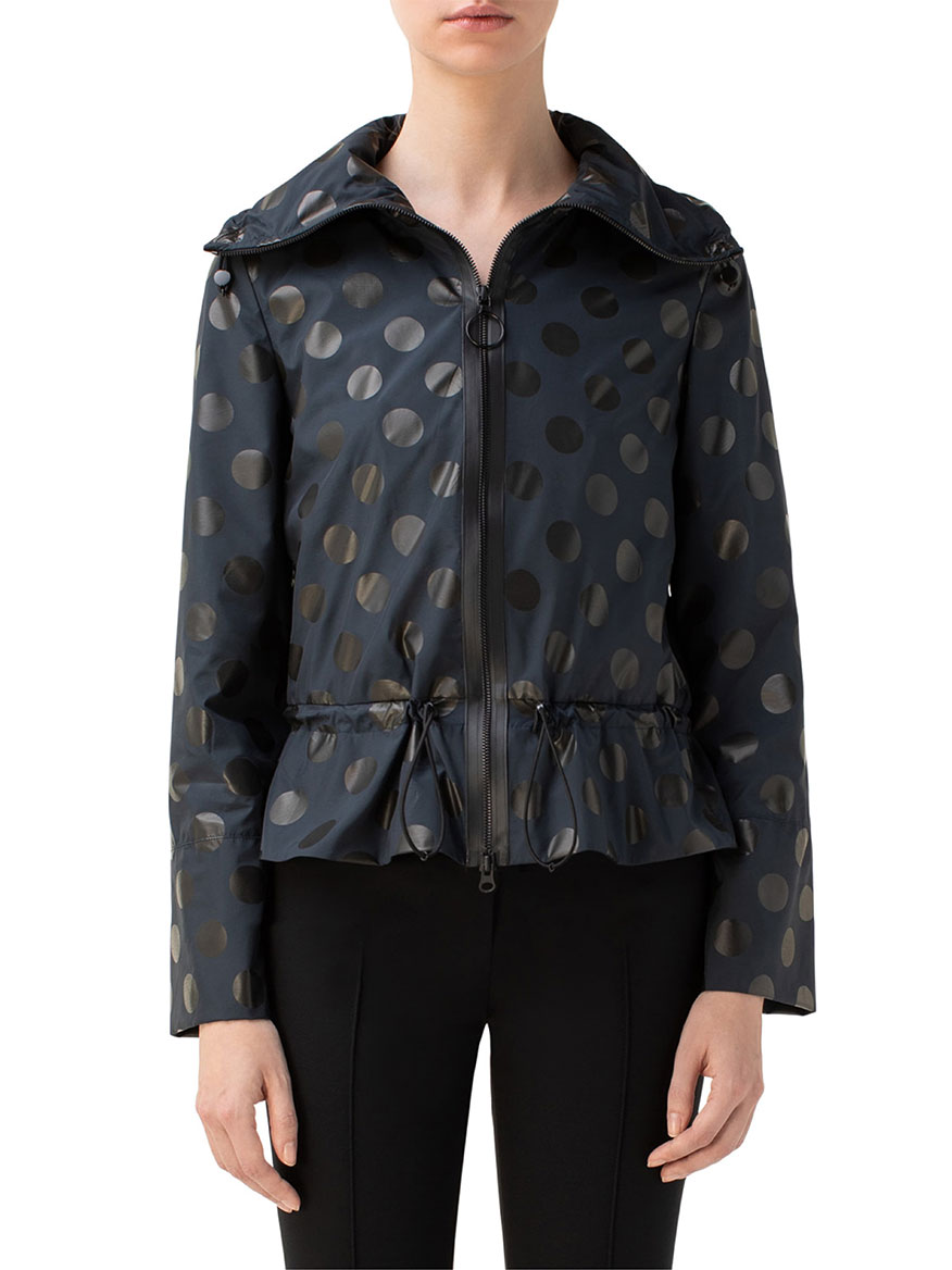 Akris Punto Dot Crop Peplum Hooded Anorak