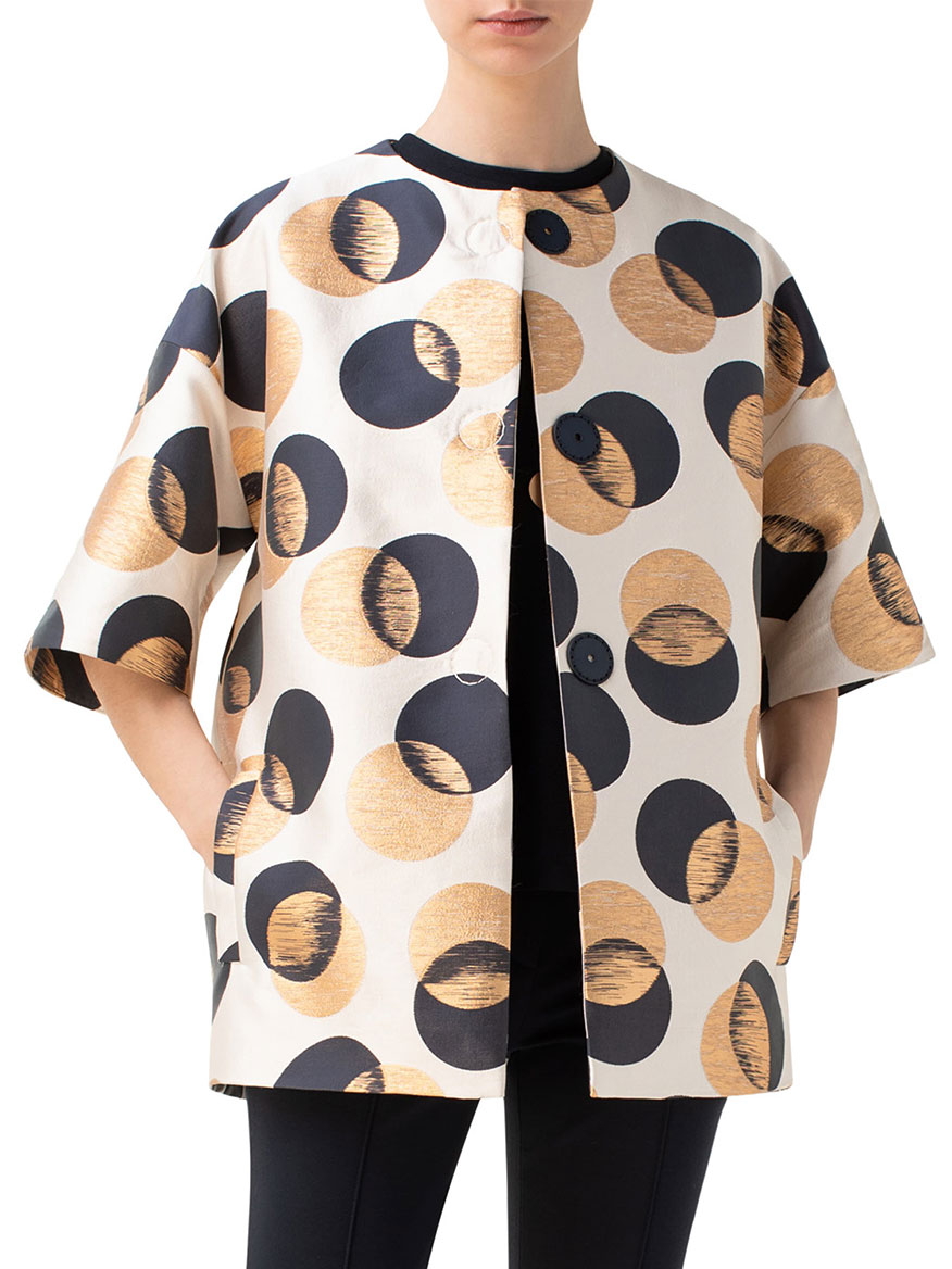 Akris Punto Gold Leaf Dot Car Coat