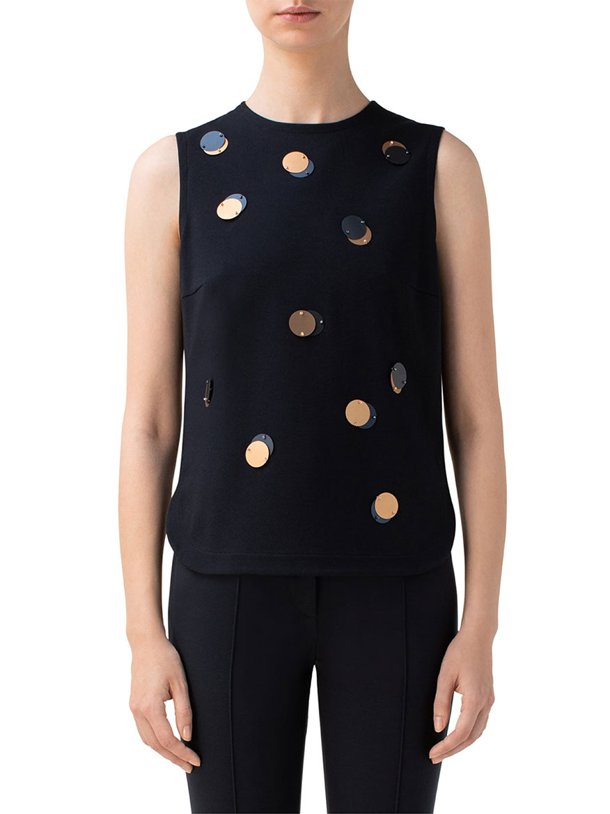 Akris Punto Sequin Sleeveless Jersey Top