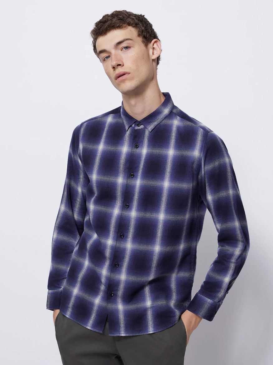 BLDWN The Arias Shirt in Indigo Plaid