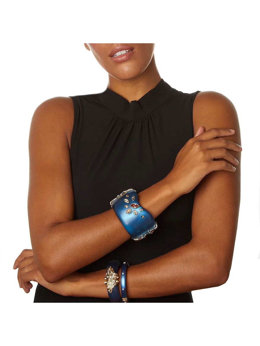 Alexis Bittar Spike Studded Hinge Bracelet in Pacific Blue