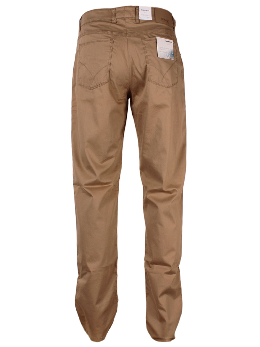 Brax Cooper Tailor Pima & Silk Trousers in Canvas
