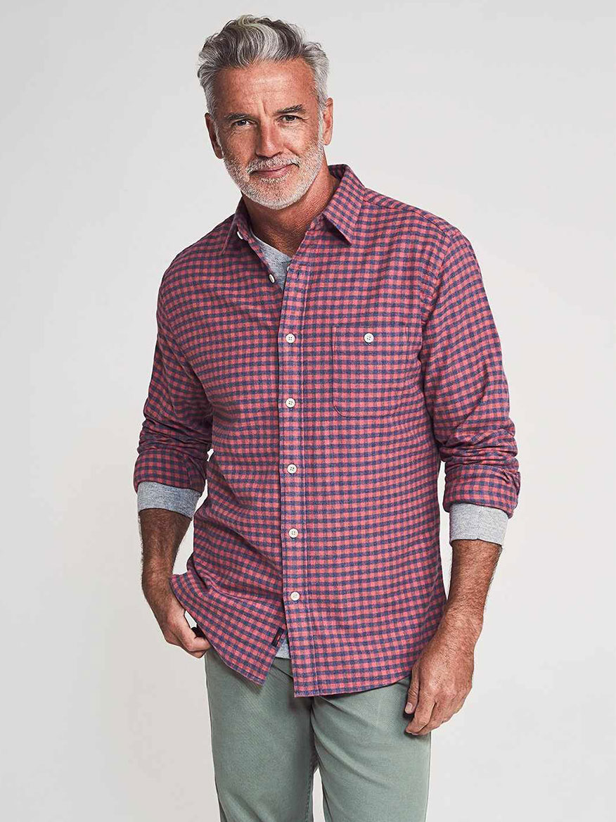 Buy Stretch Seaview Flannel Blue Rose Gingham Sport Shirts Larrimors.com