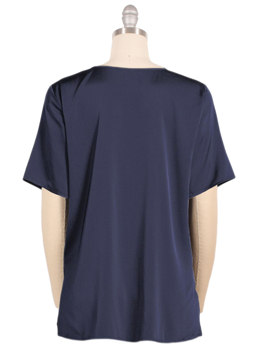 Eileen Fisher Silk Charmeuse V-Neck Top in Midnight