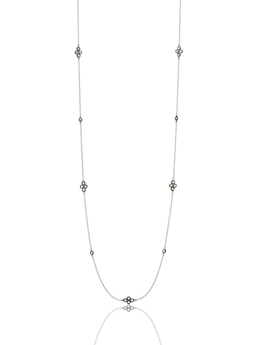 Freida Rothman Signature Four Point Station Necklace in Silver & Black