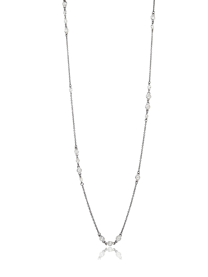Freida Rothman Signature Cluster Necklace in Silver & Black