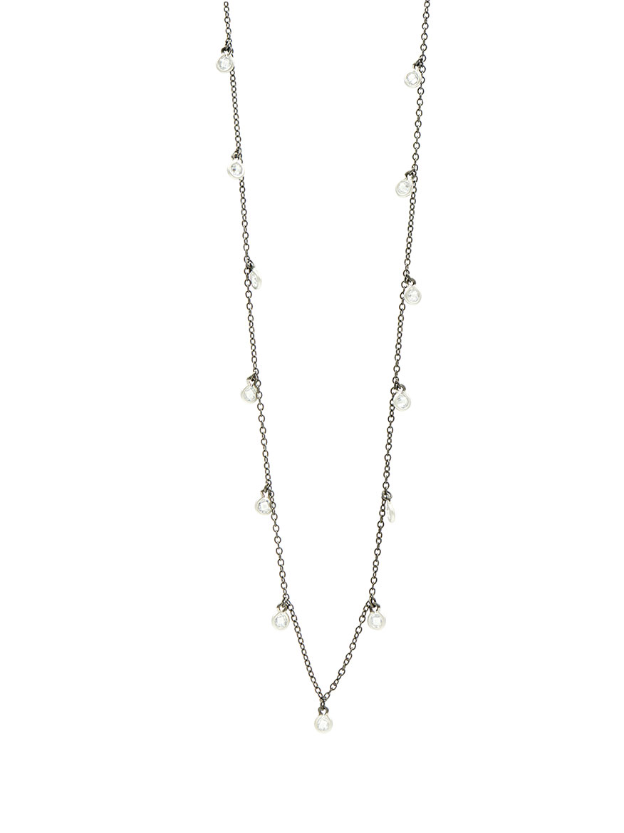 Freida Rothman Bezel Droplet Strand Necklace in Silver & Black