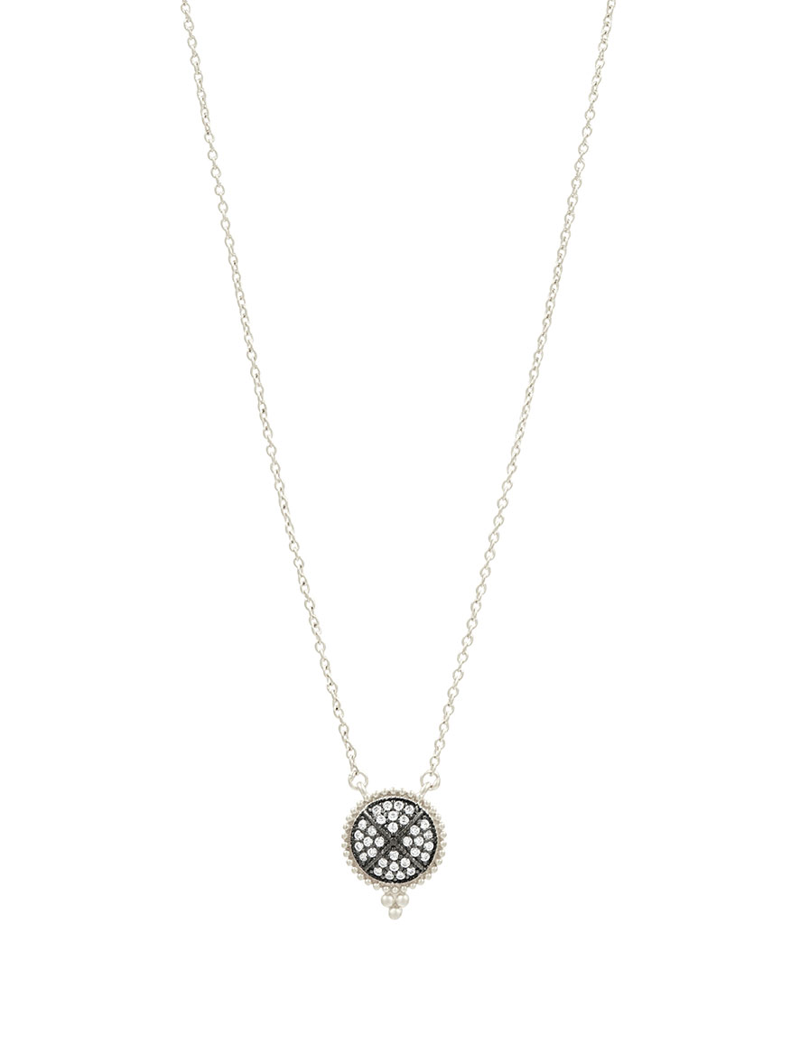 Freida Rothman Signature Pavé Disc Pendant Necklace in Silver & Black