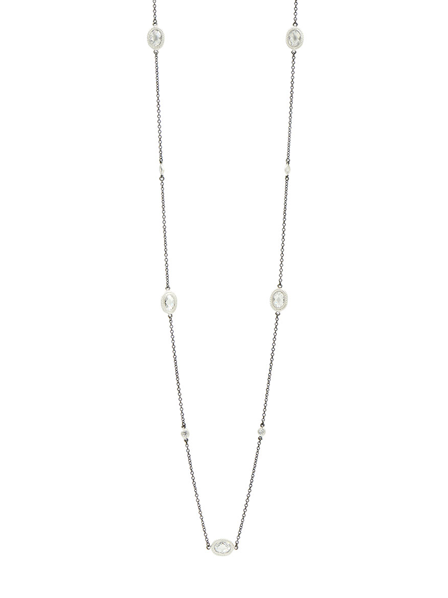 Freida Rothman Signature Raindrop Station Necklace in Silver & Black