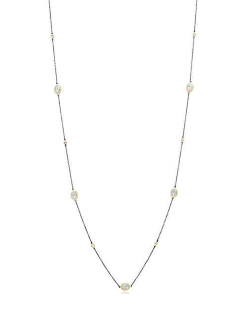 Freida Rothman Signature Raindrop Station Necklace in Gold & Black