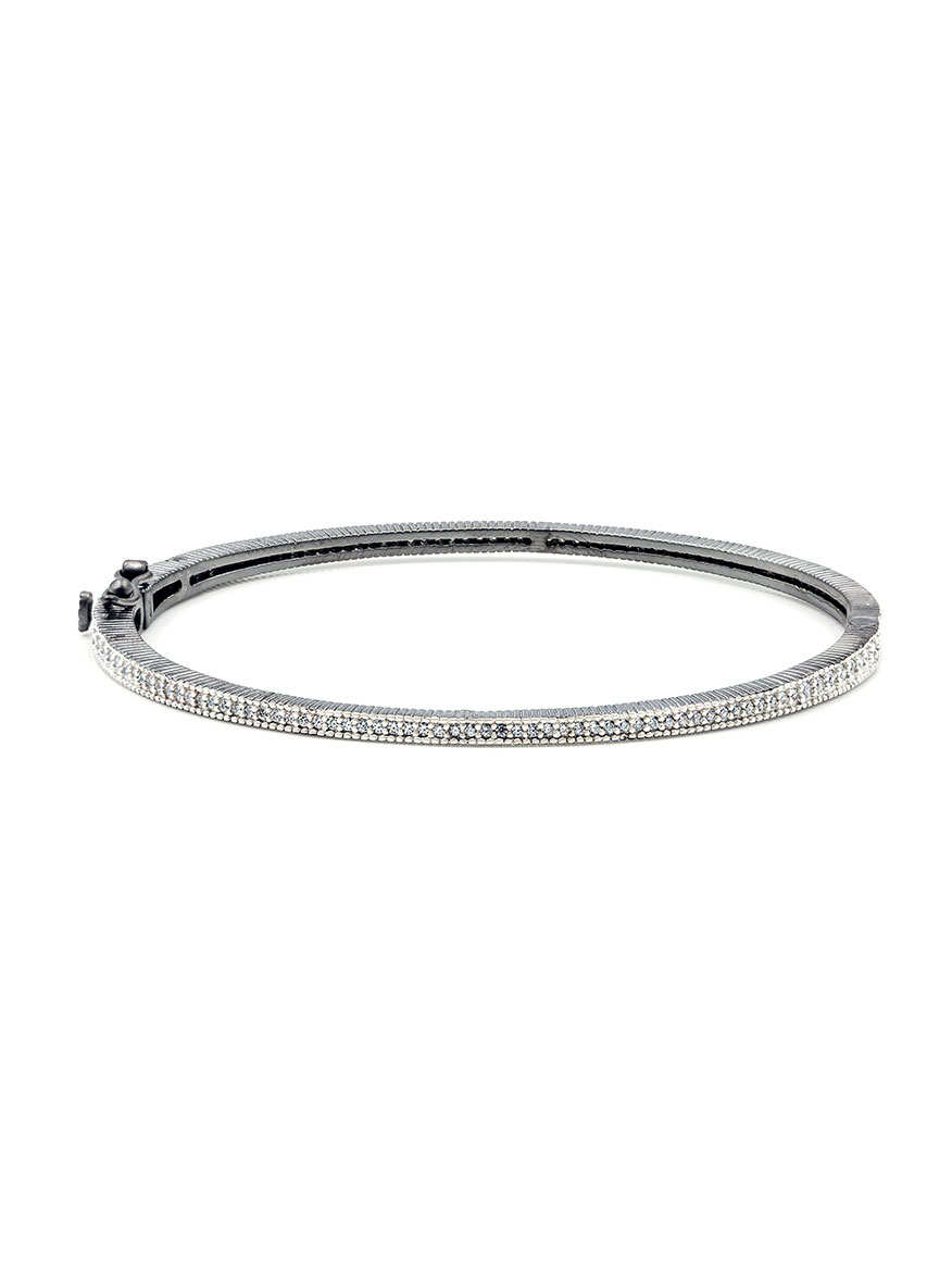 Freida Rothman Signature Thin Pavé Hinge Bangle in Silver & Black