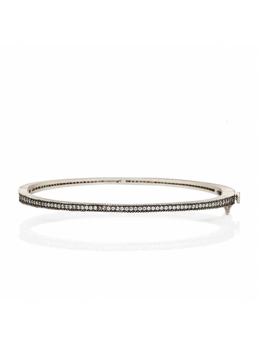 Freida Rothman Signature Thin Pavé Hinge Bangle in Silver & Black Reverse
