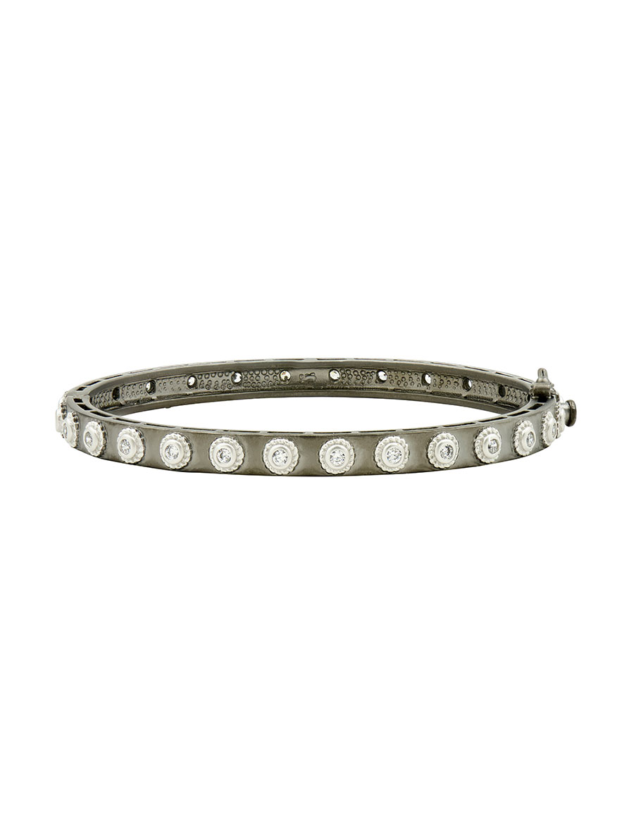 Freida Rothman Signature Studded Eternity Hinge Bangle in Silver & Black Reverse