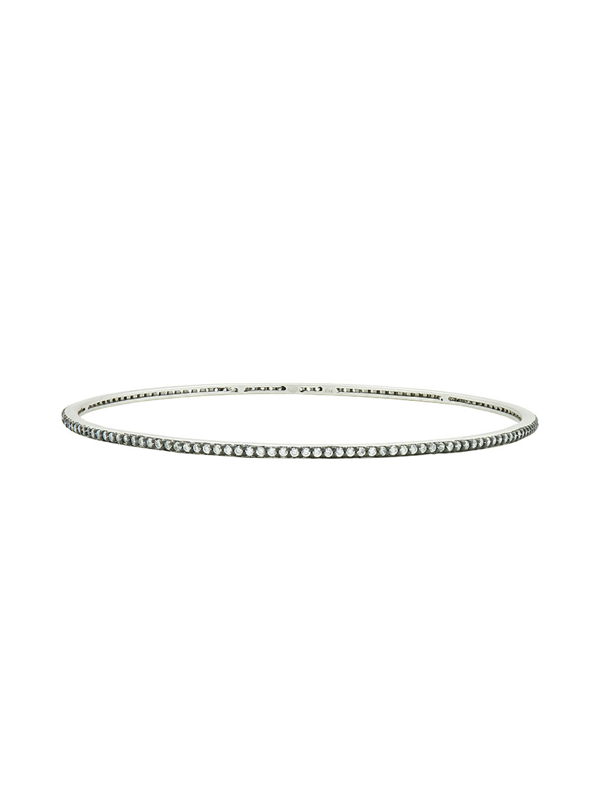 Freida Rothman Pavé Slide On Bangle in Silver & Black