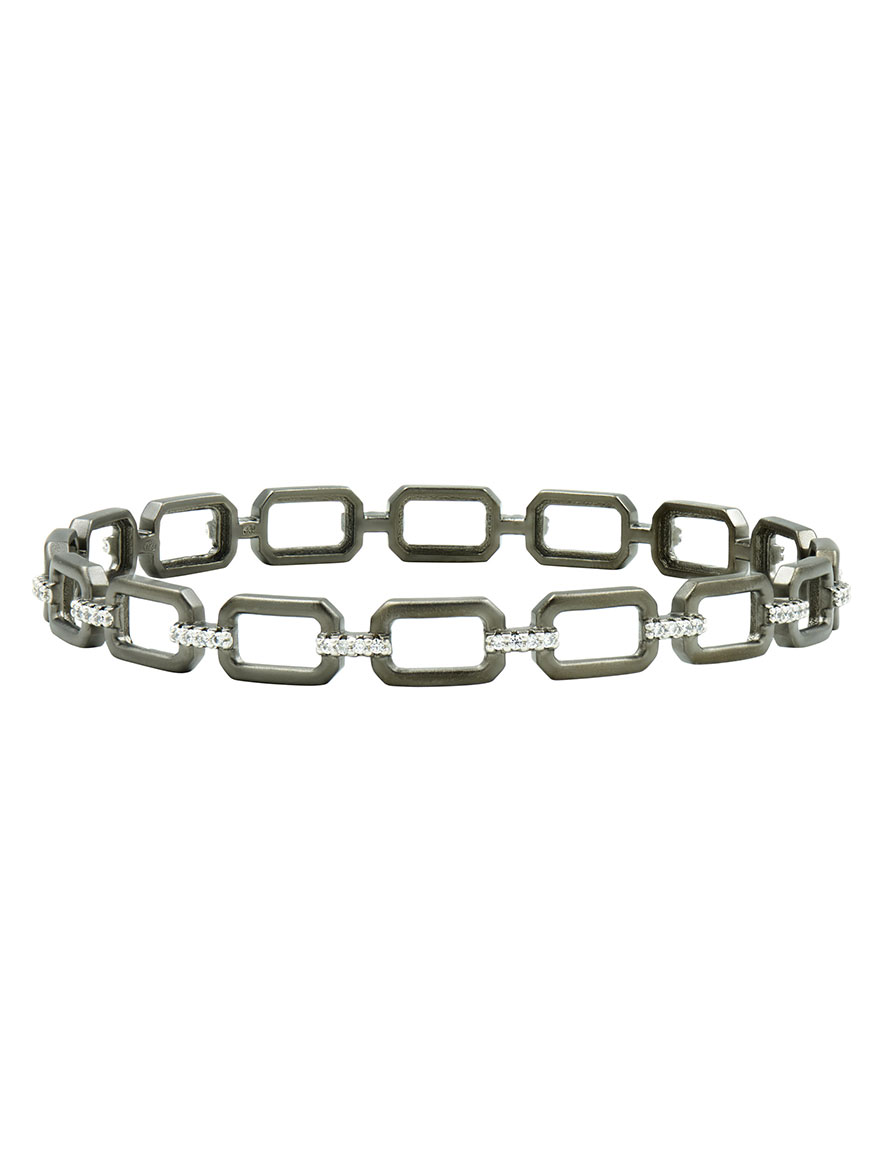 Freida Rothman Chain Link Slide Bangle in Silver & Black