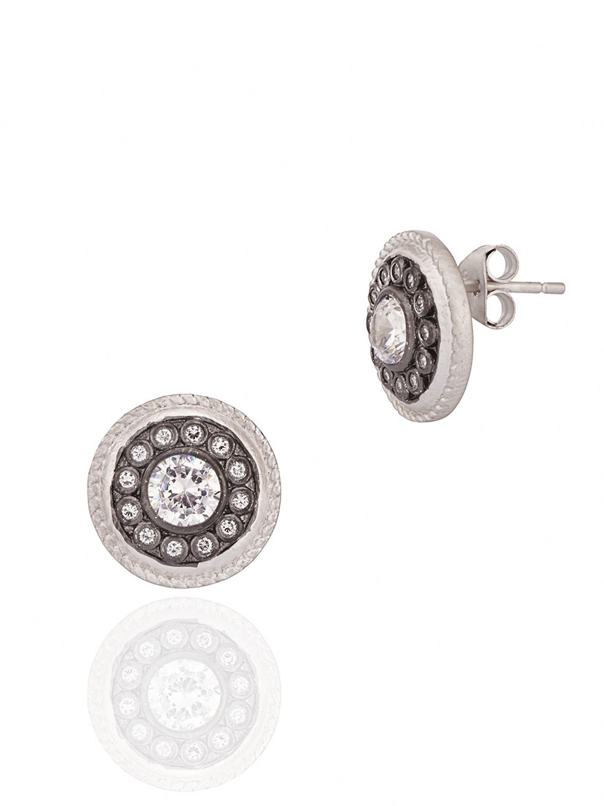 Freida Rothman Nautical Button Stud Earrings in Silver & Black