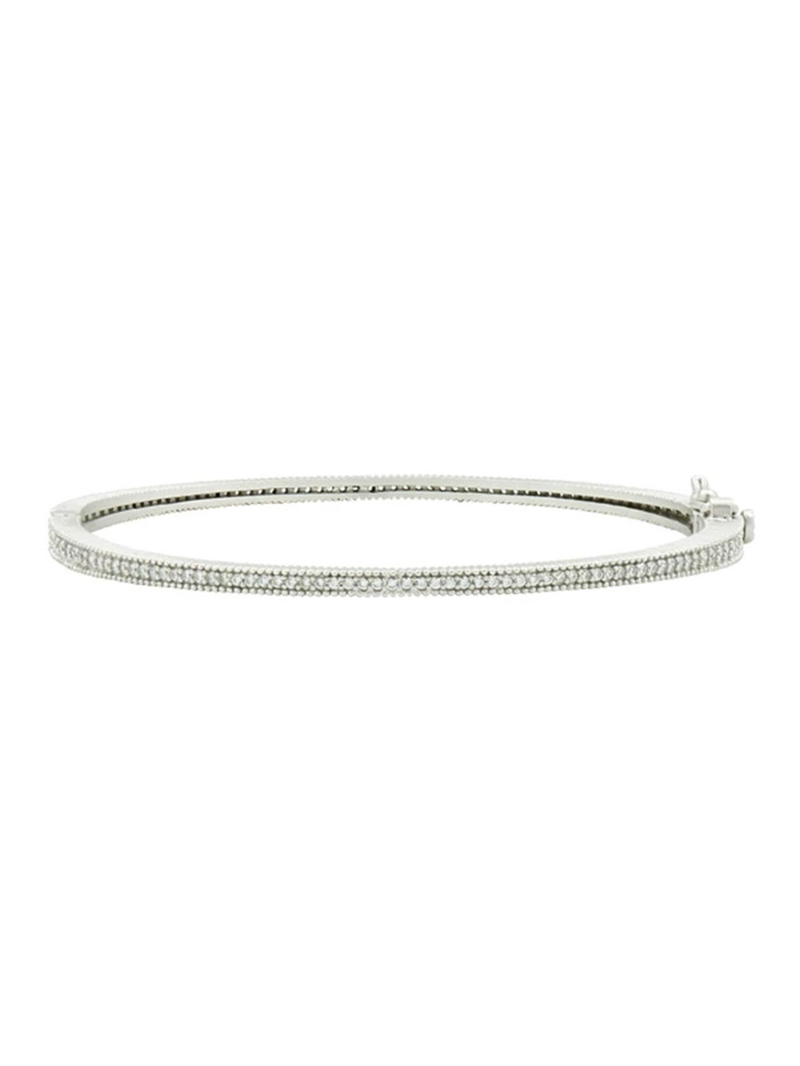 Freida Rothman Signature Thin Pavé Hinge Bangle in Silver
