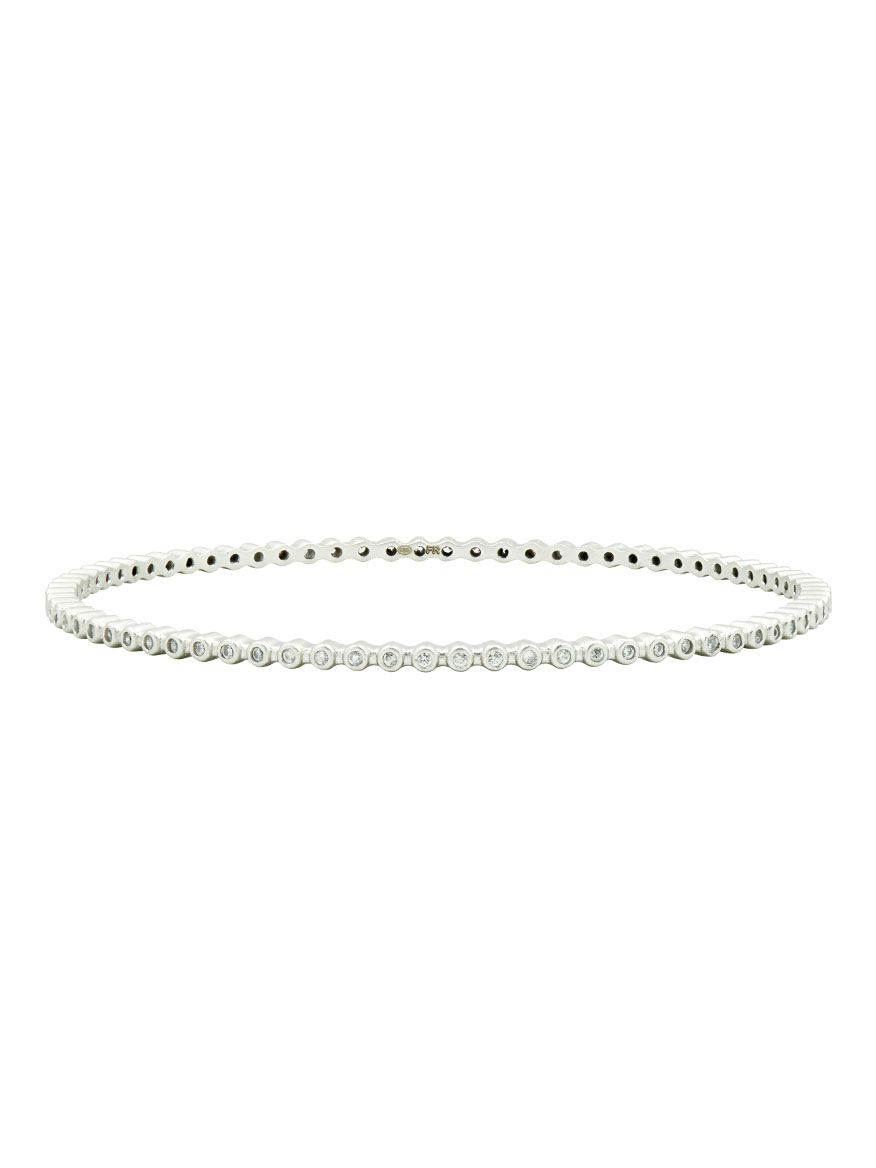 Freida Rothman Beaded Slide Bangle in Silver