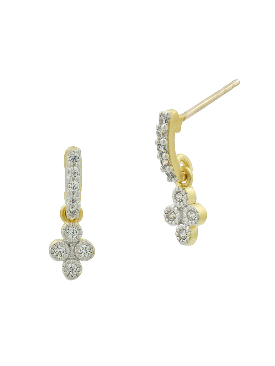 Freida Rothman Petite Clover Earrings in Platinum & 14k Gold on Sterling