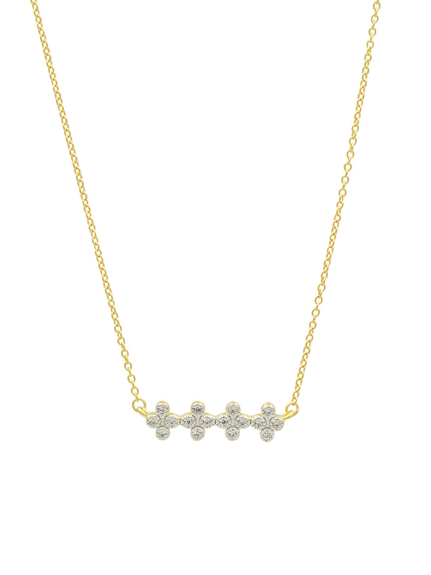 Freida Rothman Clover Bar Pendant Necklace in Gold & Silver