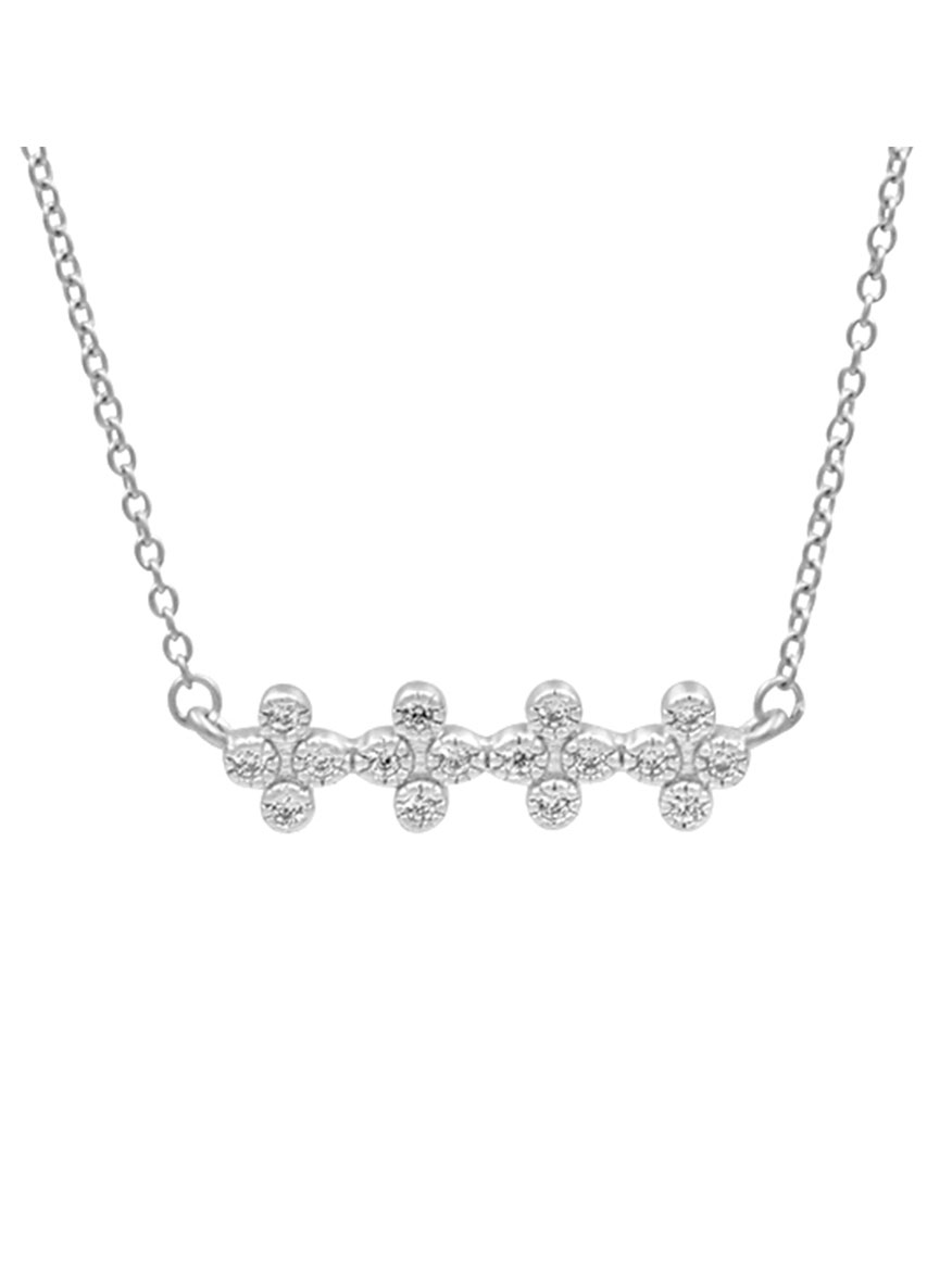 Freida Rothman Clover Bar Pendant Necklace in Silver