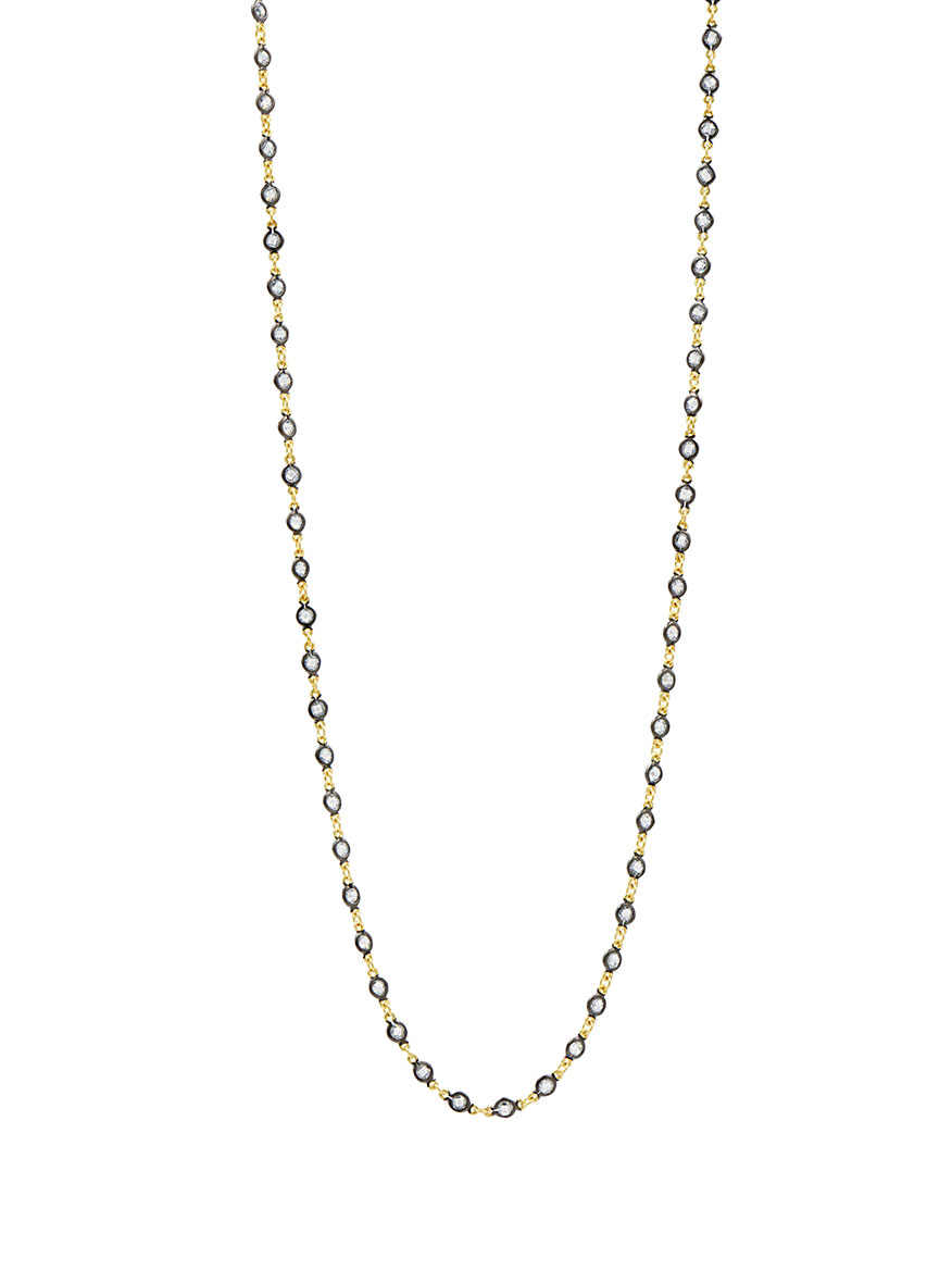 Freida Rothman Embellished Wrap Chain Necklace in Gold & Black