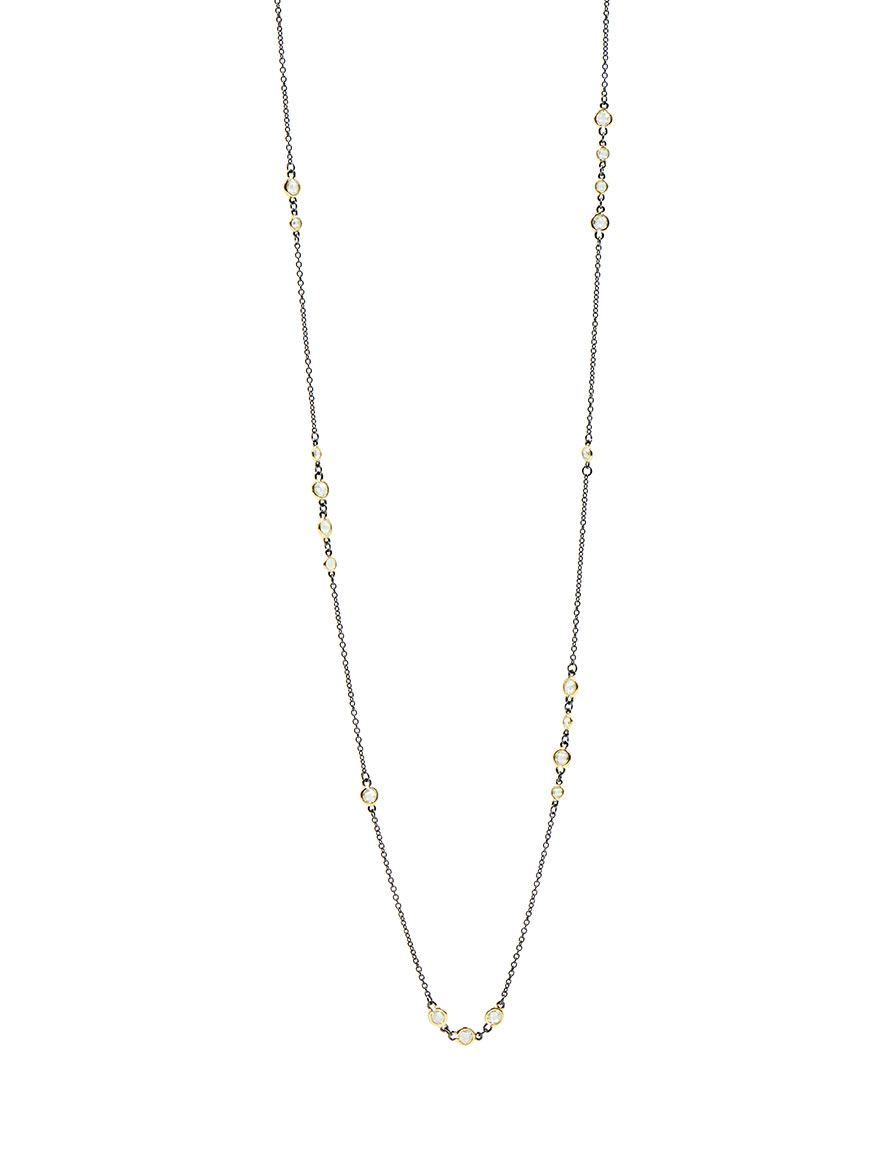 Freida Rothman Signature Cluster Necklace in Gold & Black