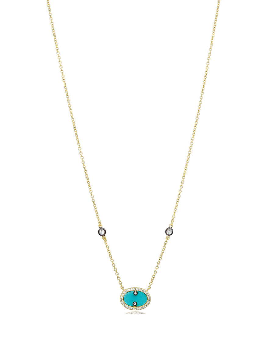 Freida Rothman Hint of Sparkle Pendant Necklace in Turquoise