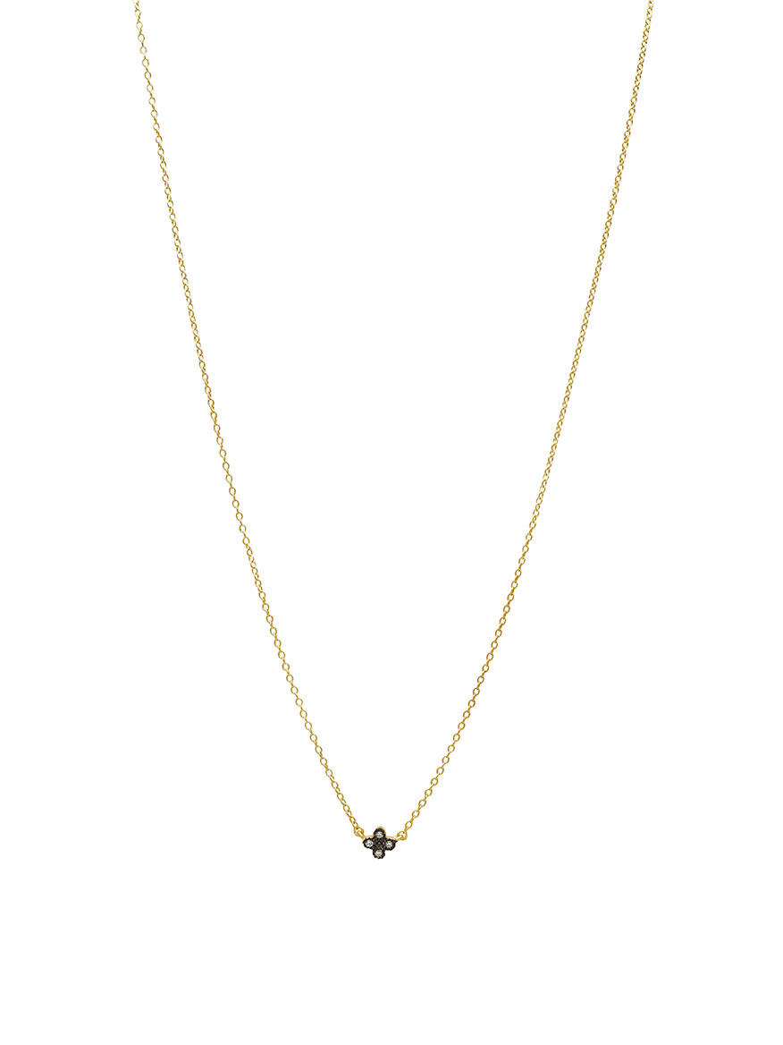 Freida Rothman Mini Clover Necklace in Gold & Black