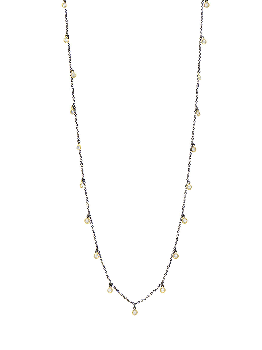 Freida Rothman Bezel Droplet Strand Necklace in Gold & Black