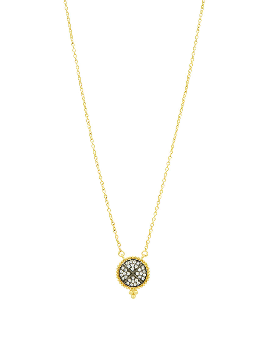 Freida Rothman Signature Pavé Disc Pendant Necklace in Gold & Black