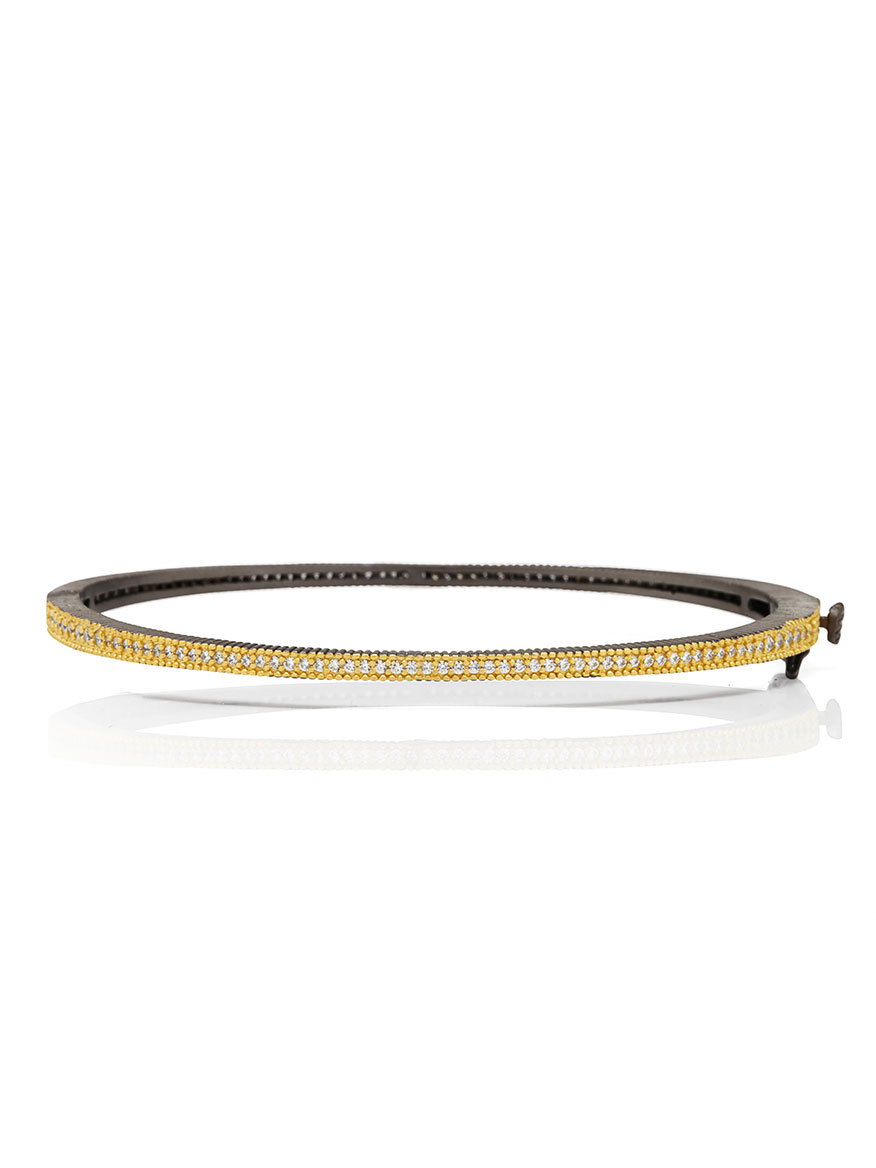 Freida Rothman Signature Thin Pavé Hinge Bangle in Gold & Black