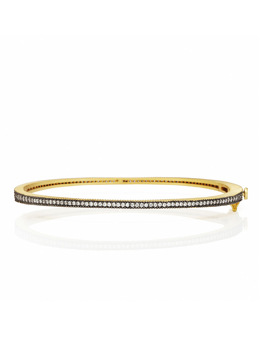 Freida Rothman Signature Thin Pavé Hinge Bangle in Gold & Black Reverse