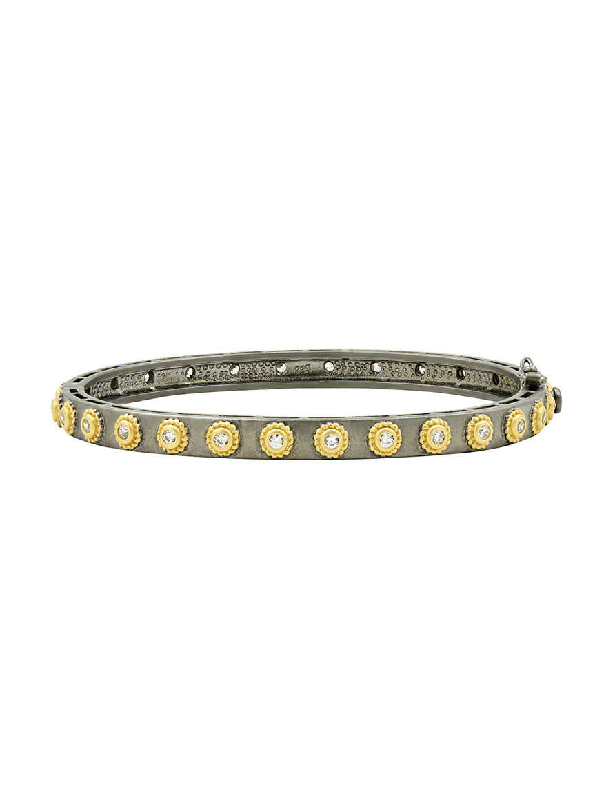 Freida Rothman Signature Studded Eternity Hinge Bangle in Gold
