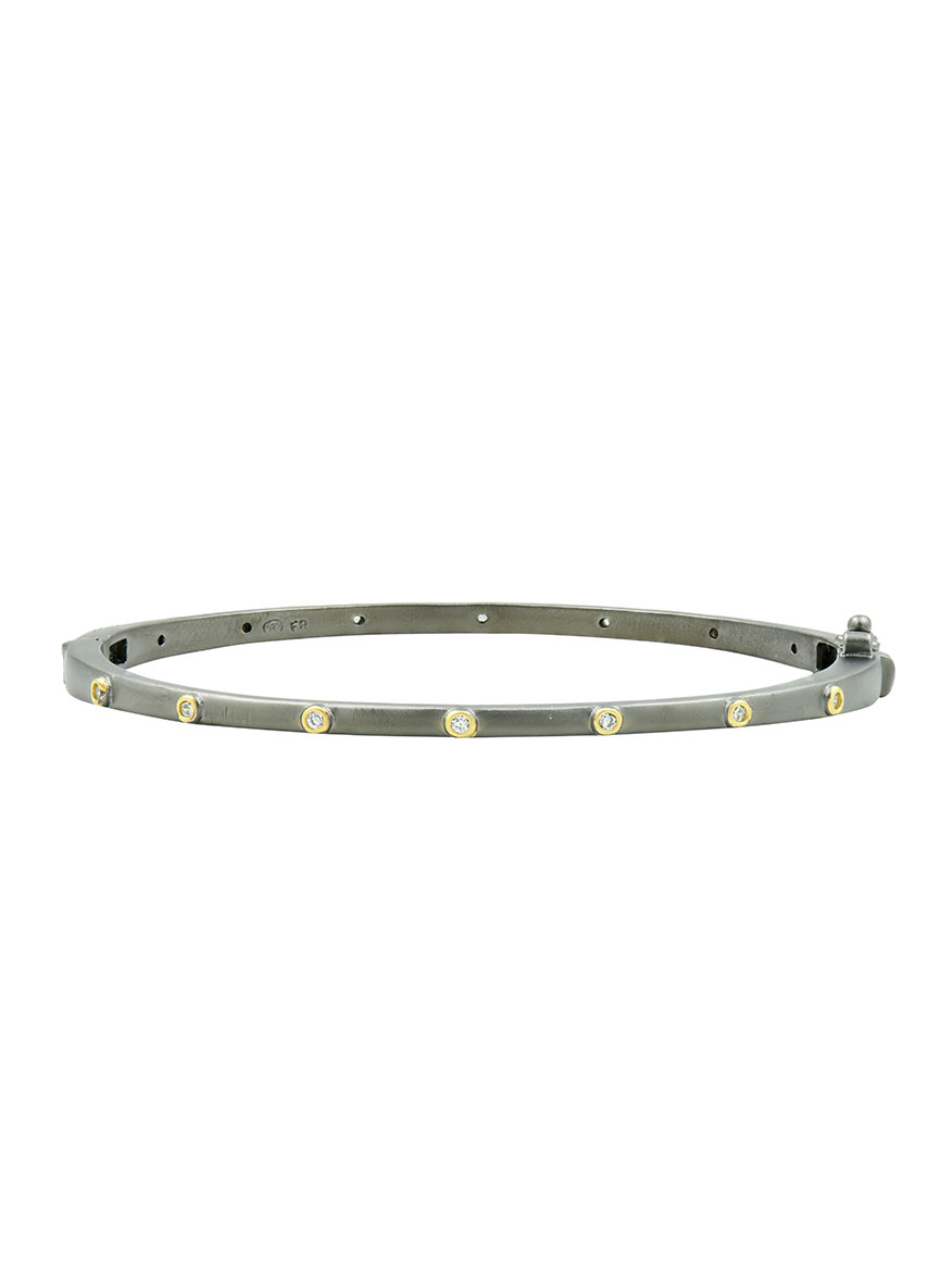 Freida Rothman Thin Bezel Sparkly Gem Bangle in Gold & Black