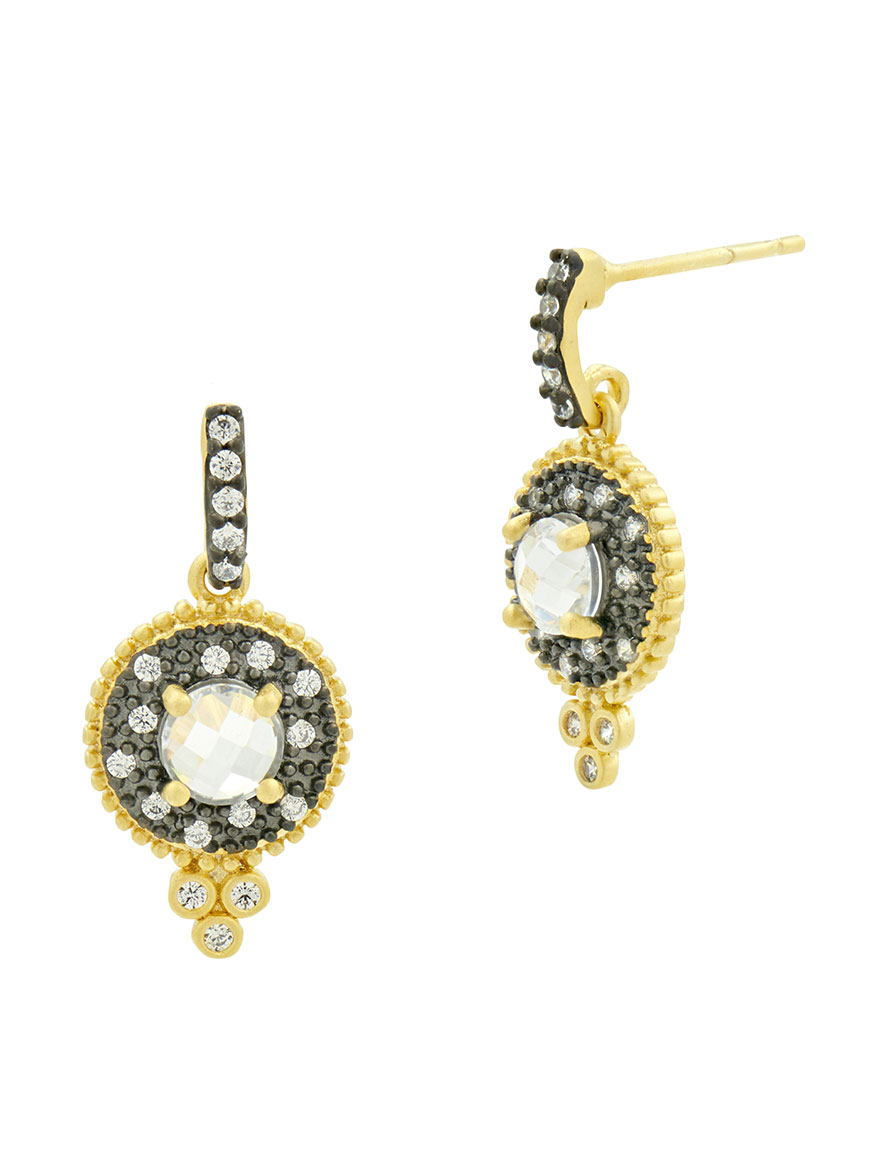 Freida Rothman Signature Single Stone Drop Earrings in Gold & Black