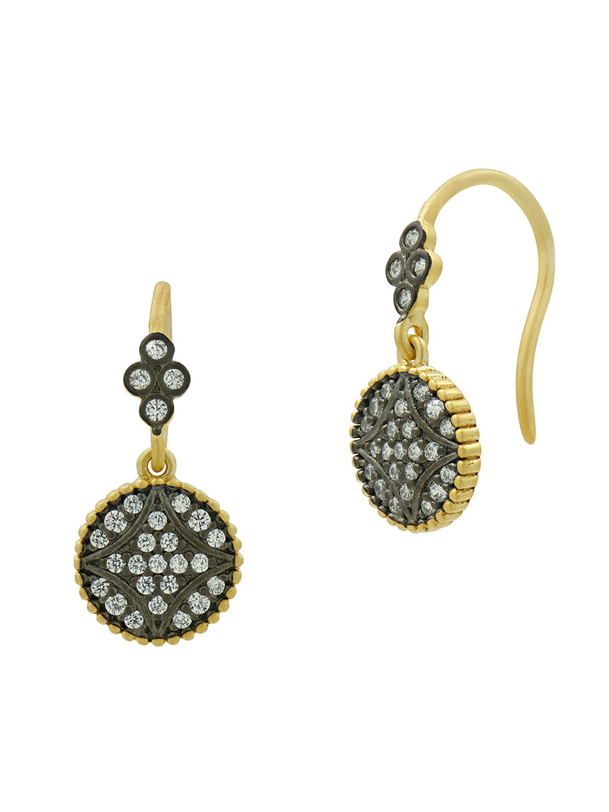 Freida Rothman Signature Pavé Disc Hook Earrings in Gold & Black