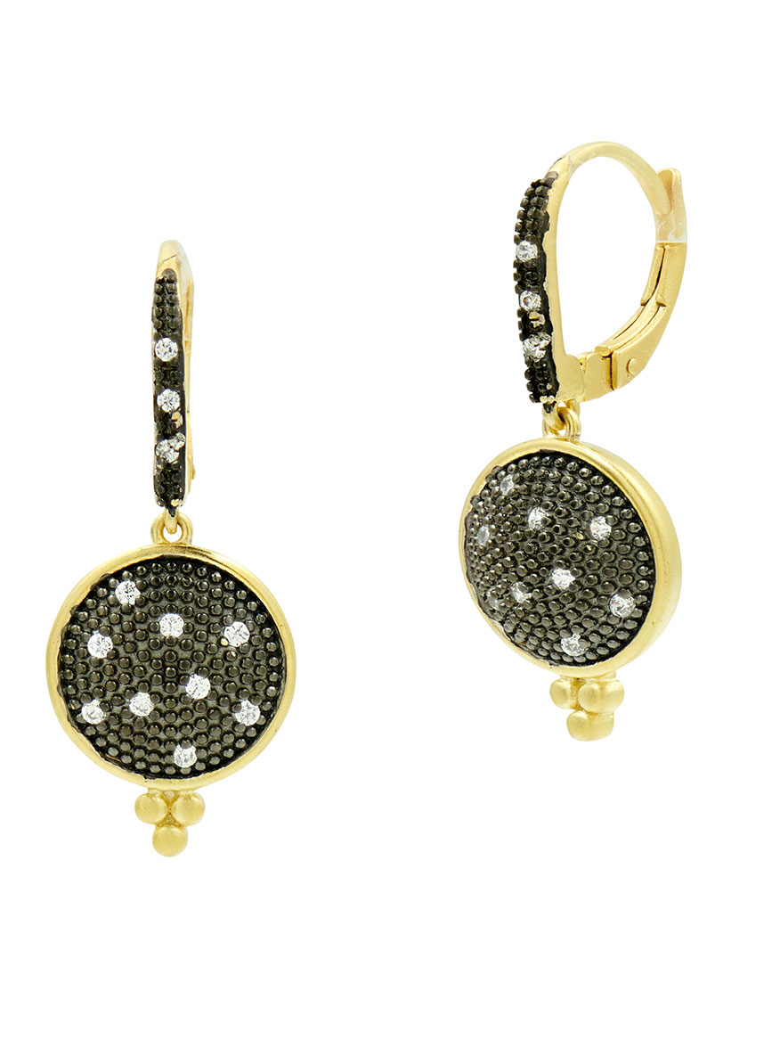 Freida Rothman Pavé Disc Lever Back Earrings in Gold & Black