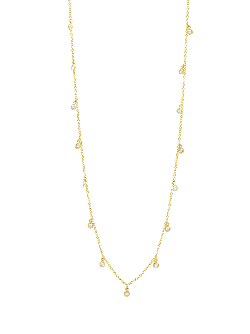 Freida Rothman Bezel Droplet Strand Necklace in Gold