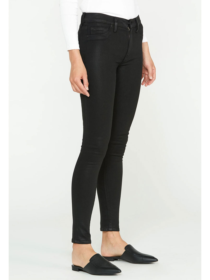 Hudson Barbara High Rise Super Skinny Jean in Noir Coated