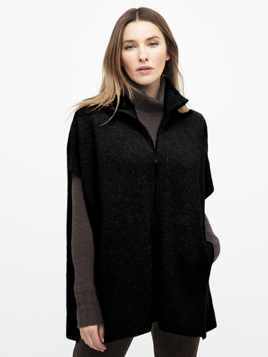 Kinross Rib Zip Mock Poncho in Black