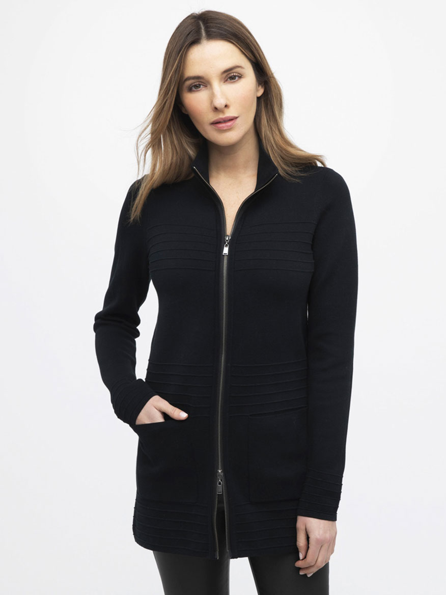 Buy Rib Zip Mock Cardigan Black Sweaters Larrimors.com