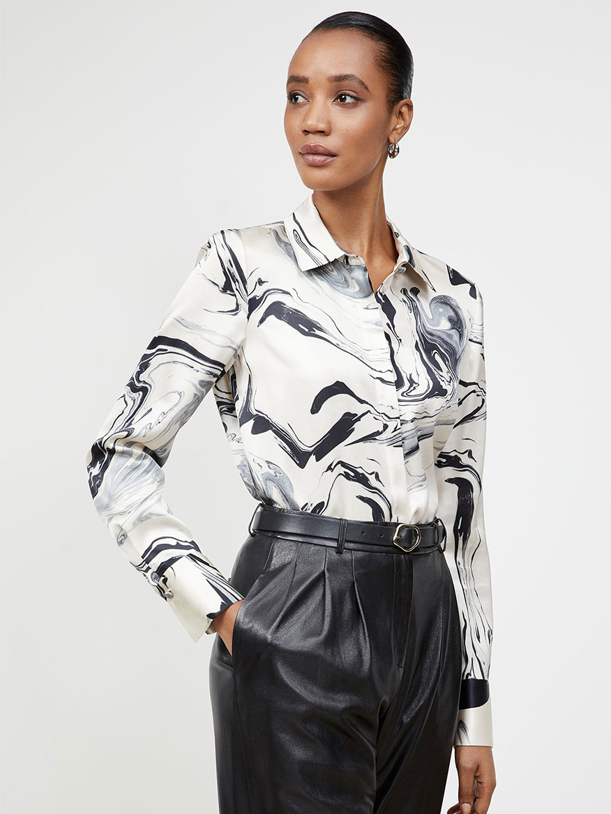 Buy Swirl Print Scottie Blouse Raffia Tops Larrimors.com